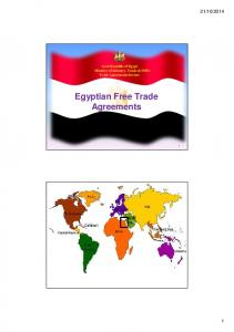 Arab Republic of Egypt Ministry of Industry, Trade & SMEs Trade Agreements Sectors Egyptian Free Trade Agreements