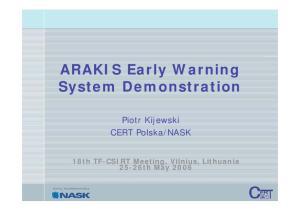 ARAKIS Early Warning System Demonstration