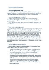Araştırma Eğitimi Programı (AEP)