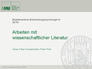 Arbeiten mit wissenschaftlicher Literatur