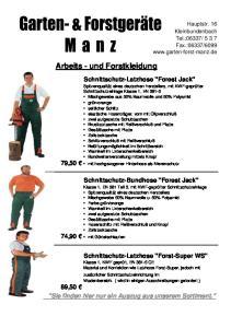 Arbeits - und Forstkleidung