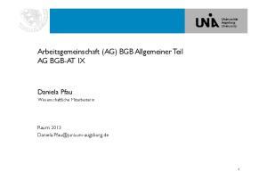 Arbeitsgemeinschaft (AG) BGB Allgemeiner Teil AG BGB-AT IX