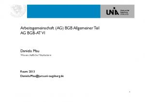 Arbeitsgemeinschaft (AG) BGB Allgemeiner Teil AG BGB-AT VI