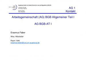 Arbeitsgemeinschaft (AG) BGB Allgemeiner Teil I AG BGB-AT I