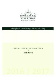 ARBEITSGEMEINSCHAFTEN & DIENSTE
