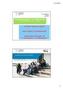 Arbeitsintegration von Migranten Eine Themen-Einführung verfasst von Felix Schärer