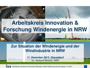 Arbeitskreis Innovation & Forschung Windenergie in NRW