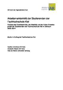 Arbeitsmarkteintritt der Studierenden der Fachhochschule Kiel
