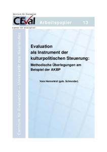 Arbeitspapier 13. Evaluation als Instrument der kulturpolitischen Steuerung: