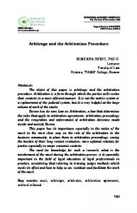 Arbitrage and the Arbitration Procedure