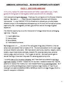 ARBONNE ADVANTAGE BUSINESS OPPORTUNITY SCRIPT