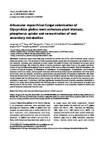 Arbuscular mycorrhizal fungal colonization of Glycyrrhiza glabra