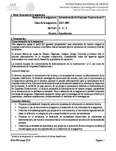 ARC-1002 SATCA 1 : Carrera: Arquitectura