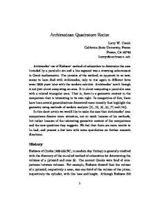 Archimedean Quadrature Redux