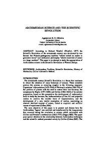 ARCHIMEDEAN SCIENCE AND THE SCIENTIFIC REVOLUTION