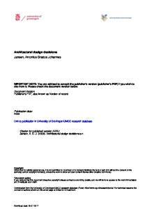 Architectural design decisions Jansen, Antonius Gradus Johannes