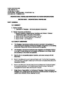 ARCHITECTURAL FIBERGLASS REINFORCED POLYESTER SPECIFICATIONS SECTION ARCHITECTURAL FIBERGLASS
