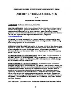 ARCHITECTURAL GUIDELINES