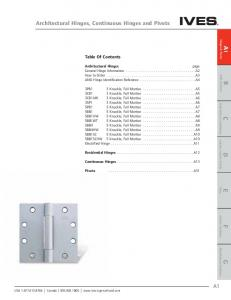 Architectural Hinges, Continuous Hinges and Pivots