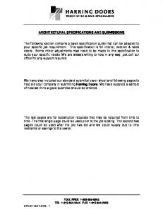 ARCHITECTURAL SPECIFICATIONS AND SUBMISSIONS