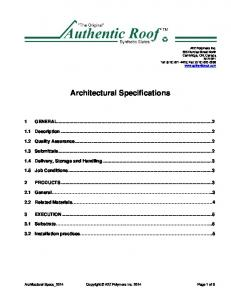 Architectural Specifications