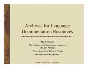 Archives for Language Documentation Resources