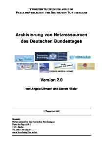 Archivierung von Netzressourcen des Deutschen Bundestages