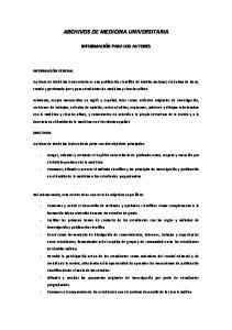 ARCHIVOS DE MEDICINA UNIVERSITARIA