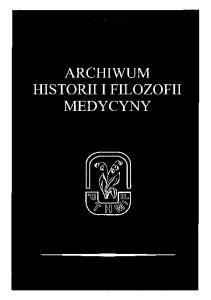 ARCHIWUM HISTORIII FILOZOFII MEDYCYNY