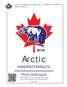 Arctic. MANUFACTURING LTD. Parts Catalogue ARCTIC MANUFACTURING LTD