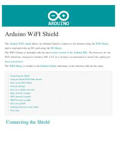 Arduino WiFI Shield. Connecting the Shield