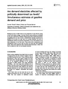 Are demand elasticities affected by politically determined tax levels? Simultaneous estimates of gasoline demand and price