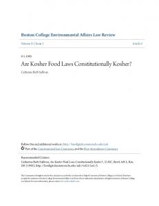 Are Kosher Food Laws Constitutionally Kosher?