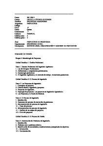 Área: PROYECTOS DE INGENIERIA Departamento: INGENIERIA RURAL Descriptores: METODOLOGIA, ORGANIZACIÓN Y GESTION DE PROYECTOS