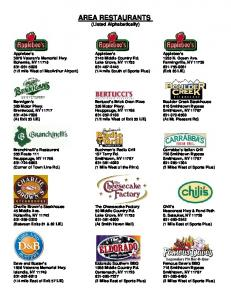 AREA RESTAURANTS (Listed Alphabetically)