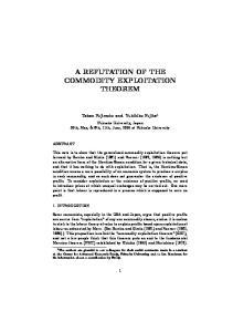 AREFUTATIONOFTHE COMMODITY EXPLOITATION THEOREM