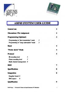 ARF05 SYSTEM USER GUIDE