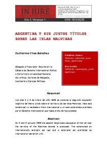 ARGENTINA Y SUS JUSTOS TÍTULOS SOBRE LAS ISLAS MALVINAS