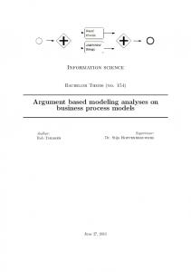 Argument based modeling analyses on business process models