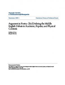 Argument in Poetry: (Re)Defining the Middle English Debate in Academic, Popular, and Physical Contexts