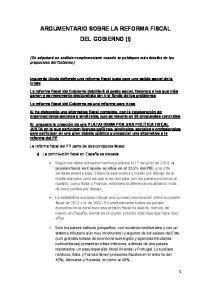 ARGUMENTARIO SOBRE LA REFORMA FISCAL DEL GOBIERNO (I)