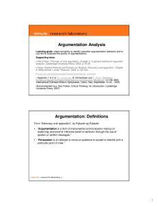 Argumentation Analysis. Argumentation: Definitions