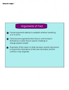 Arguments of Fact. Factual arguments attempt to establish whether something is or is not so