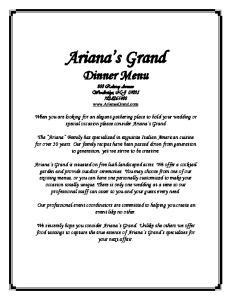 Ariana s Grand Dinner Menu