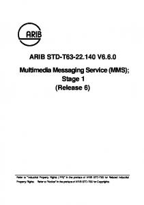 ARIB STD-T V Multimedia Messaging Service (MMS); Stage 1 (Release 6)