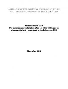ARIEL - MUNICIPAL COMPANY FOR SPORT, CULTURE AND LEISURE MANAGEMENT IN JERUSALEM LTD