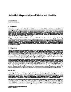 Aristotle s Magnanimity and Nietzsche s Nobility