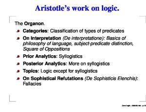 Aristotle s work on logic