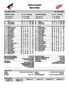Arizona Coyotes Game Notes
