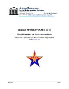 Arizona Homeowners Legal Information Services 5419 E. Piping Rock Road Scottsdale, AZ ARIZONA REVISED STATUTES (2012)